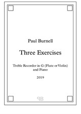 Three Exercises - for Alto Recorder in G (Flute or Violin) and Piano